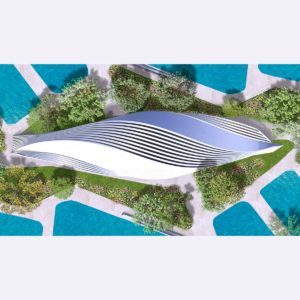 Surround for a waterpark: multiple points of view for one sole building